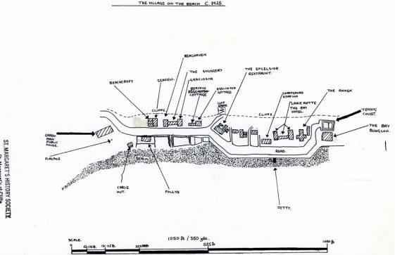 Sketch map of the Village on the Beach. c1925