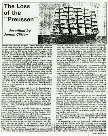 'The Loss of the Preussen' from Ships Monthly. 1981