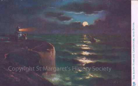 Painting of the South Foreland Lighthouse at night.  c1904