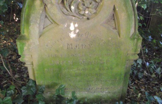 Gravestone of MARSH Mary 1890; MARSH John