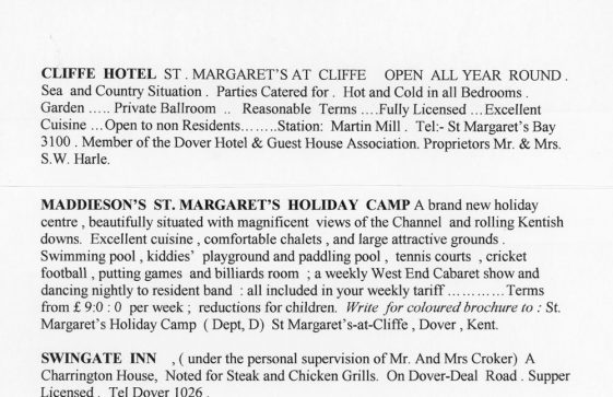 Accommodation available in St Margaret's from 'Dover - Gateway of England'.  1964
