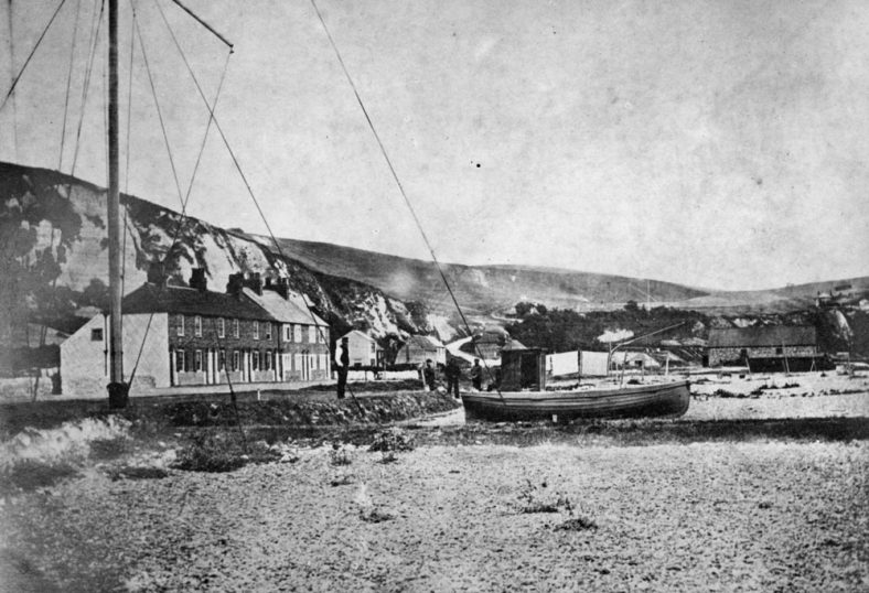 Boats on St Margaret's Bay beach, c1860 (negative has been reversed!)