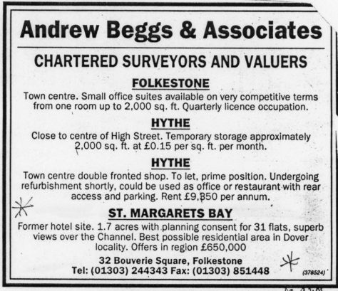 Advertisement for the sale of the Granville Hotel site, Hotel Road. 1995