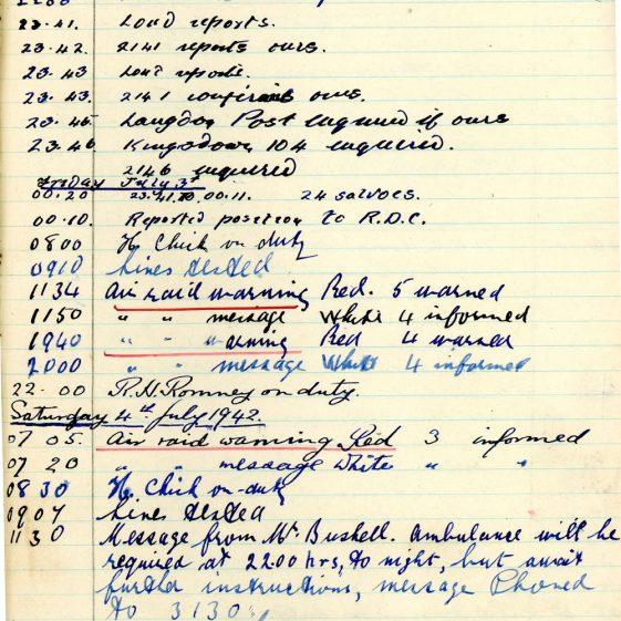 St Margaret's ARP (Air Raid Precautions) Log. Volume 5. 25 September 1941 - 17 July 1942. Pages 126 - 135