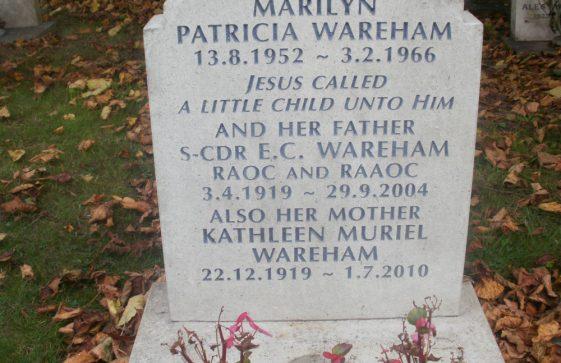 Gravestone of WAREHAM Edwin C 2002; WAREHAM Kathleen Muriel 2010; WAREHAM Marilyn Patricia 1966