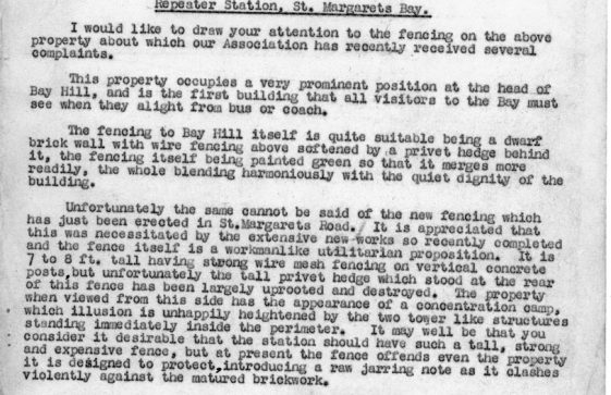 Correspondence between Residents and Ratepayers and PO Telephone Manager re fencing at the Repeater Station Bay Hill. 1954