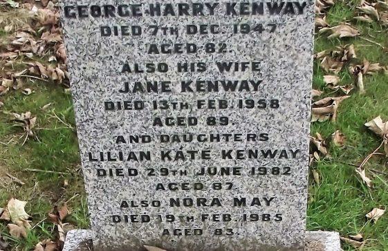 Gravestone of KENWAY George Henry 1947; KENWAY Jane 1958; KENWAY Lilian Kate 1982; KENWAY Nora May 1985