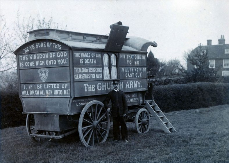 Horse drawn caravan belonging to the Church Army. Late 19th century