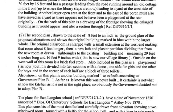 Notes on plans of St Margaret's at Cliffe and East Langdon Schools in East Kent Archives.