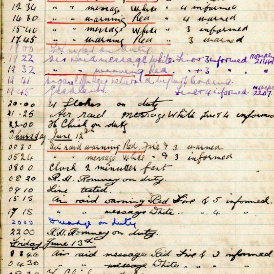 St Margaret's ARP (Air Raid Precautions) Log. Volume 4. 18 February 1941 - 25 September 1941. Pages 90-98
