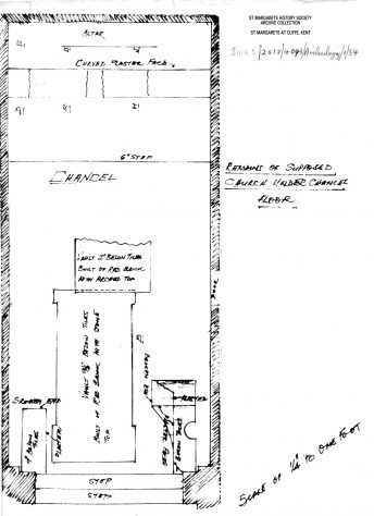 Architect's plan of 'supposed church' beneath St Margaret's of Antioch chancel floor.  1913