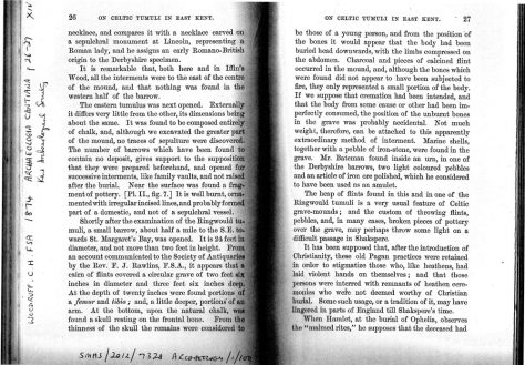 'On Celtic Tumuli in East Kent'. Extract from an article in Archaeologia Cantiana Vol. XIV. 1874
