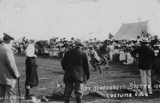 Costume race at St Margaret's Sports Day 1906, sent to Mr EW Newman. postmarked 8 September 1906