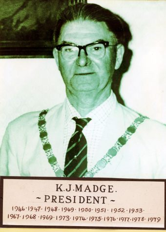 K J Madge, President of the Bowls Club