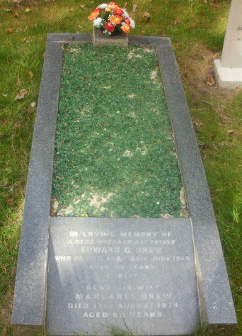 Gravestone of DREW Edward George 1958; DREW Margaret 1979