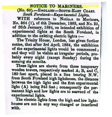 Notice to Mariners No 65 about Light experiments at South Foreland Lighthouse. The London Gazette April 18 1884,