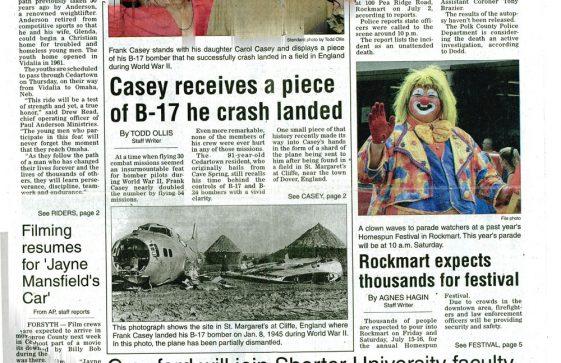 Frank Casey, B17 pilot from The Cedartown Standard (Georgia, USA). 12 July 2011