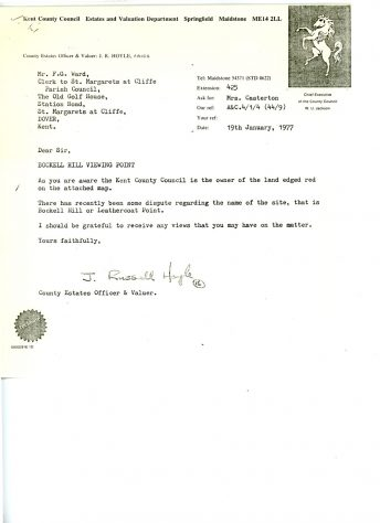 Correspondence between Kent County Council and the local Parish Council regarding the correct name of the Bockell Hill viewing point. 1977