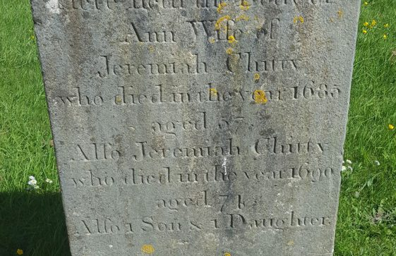 Gravestone of CHITTY Ann 1685; CHITTY Jeremiah 1690; CHITTY son and daughter