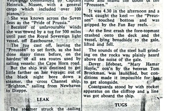 60 year anniversary of the wreck of the Preussen in 1910