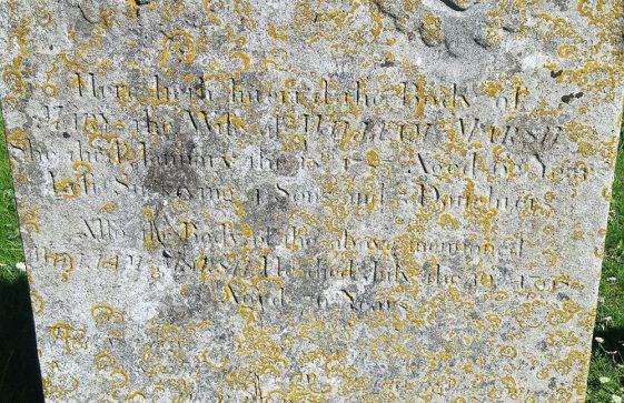 Gravestone of MARSH Mary 1787;  MARSH William 1773