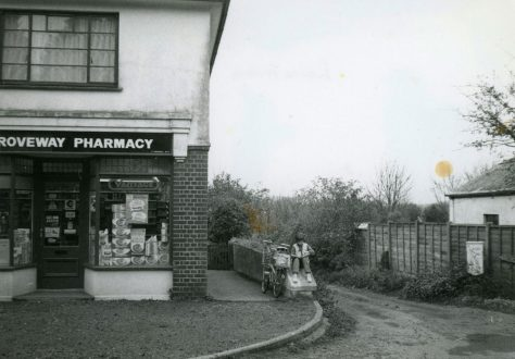 The Droveway Pharmacy, The Droveway. External  view of 1984 and internal view of 1986