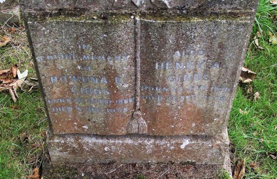 Gravestone of GIBBS Rowena E 1955; GIBBS Henry A 1956