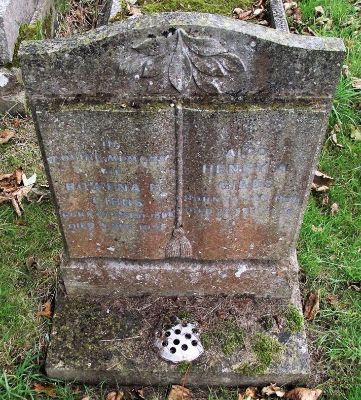 Gravestone of GIBBS Rowena E 1955; GIBBS Henry A 1956   Dawn Sedgwick