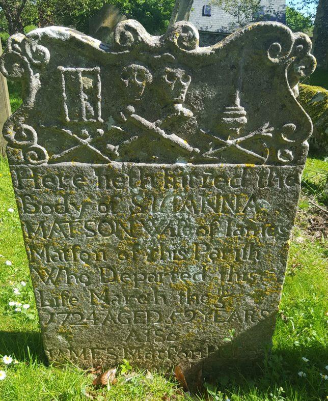Gravestone of MATSON Susanna 1724; MATSON James 1730 | Dawn Sedgwick
