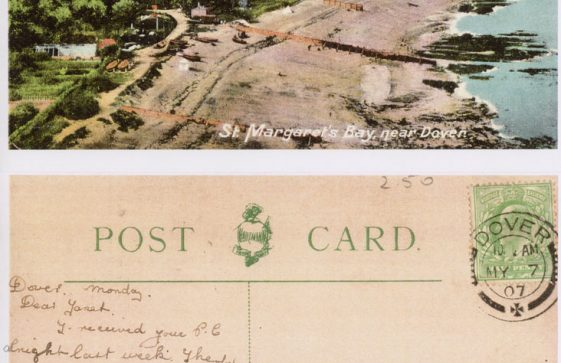 St Margaret's Bay from Ness Point. postmark 1907; Prince Fusimi visit to Dover 1907