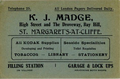 Advertising Envelope for K J Madge's Stores in St Margaret's at Cliffe
