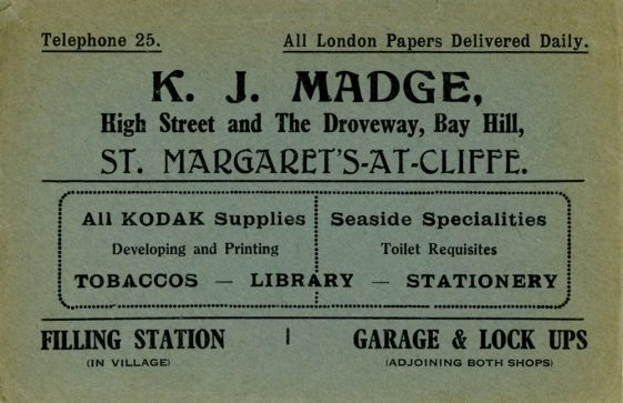 Advertising Envelope for K J Madge's Stores in St Margaret's at Cliffe