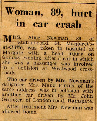 Car accident involving Maude Finnis and Alice Newman.