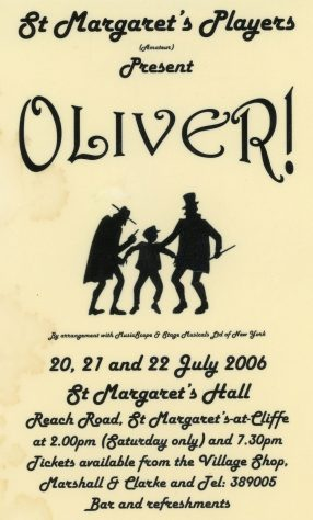 Poster advertising St Margaret's Players production of 'Oliver'. 2006