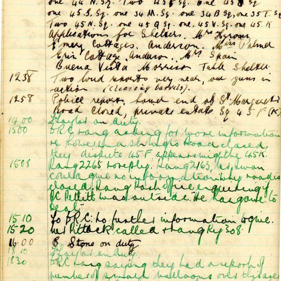 St Margaret's ARP (Air Raid Precautions) Log. Volume 6. 17 July 1942 - 16 February 1943. Pages 38-47