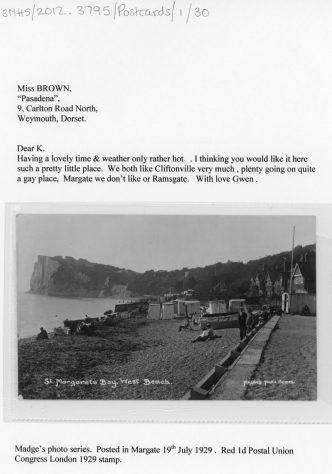 The promenade St Margaret's Bay. postmark 1929