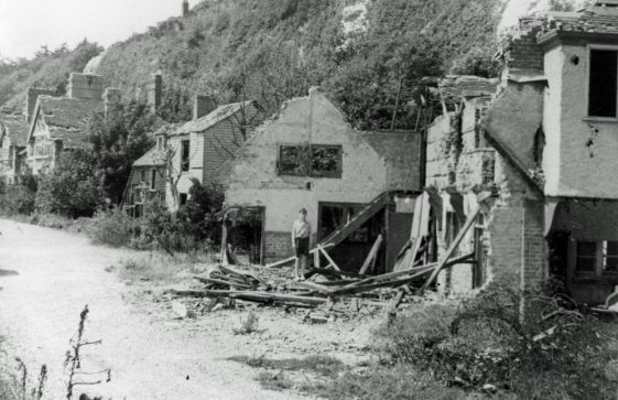 Excelsior Tea Rooms in ruins. 1945