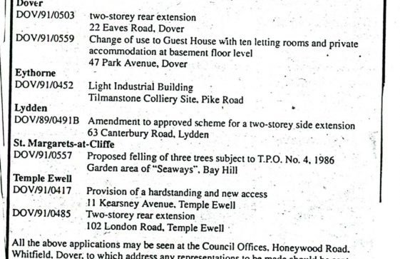 Planning Application to fell protected trees in The Bay. 1991