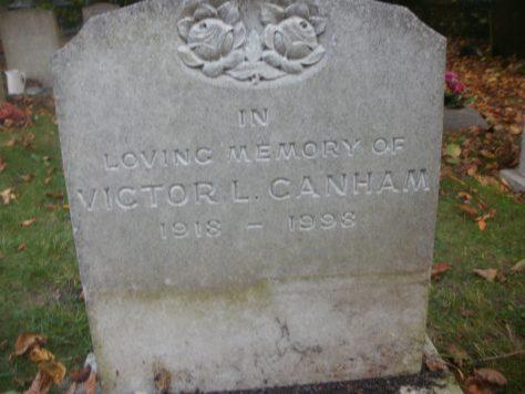 Gravestone of CANHAM Victor L 1998