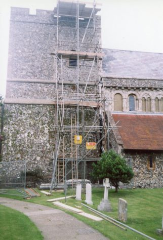 Works associated with the installation of  the telephone mast on the church tower. 16 July 2004