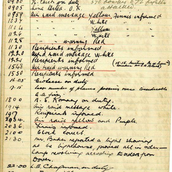 St Margaret's ARP (Air Raid Precautions) Log. Volume 2. 24 July 1940 - 2 November 1940. Pages 58-64