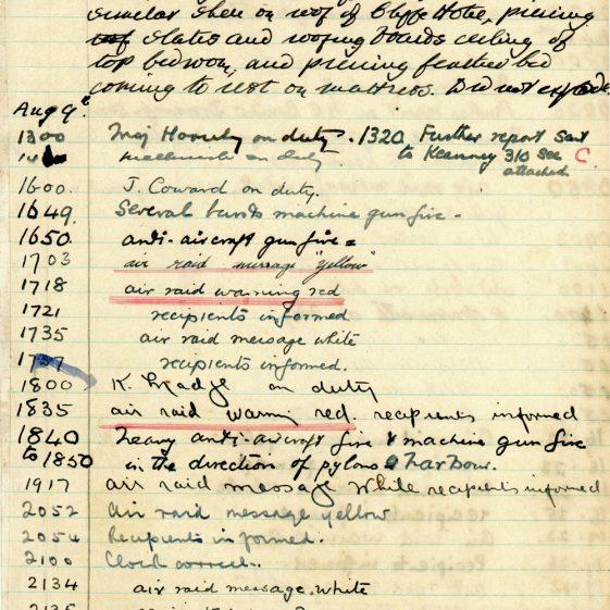 St Margaret's ARP (Air Raid Precautions) Log. Volume 2. 24 July 1940 - 2 November 1940. Pages 17-26