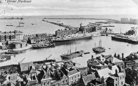 Postcard with a view of the Western Docks Dover, sent to Mr EW Newman. postmarked 19 October 1909