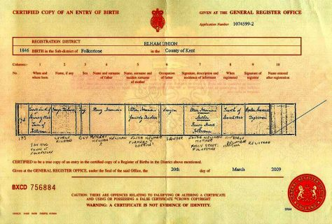 Birth Certificate of George Richard Newman. January 1846