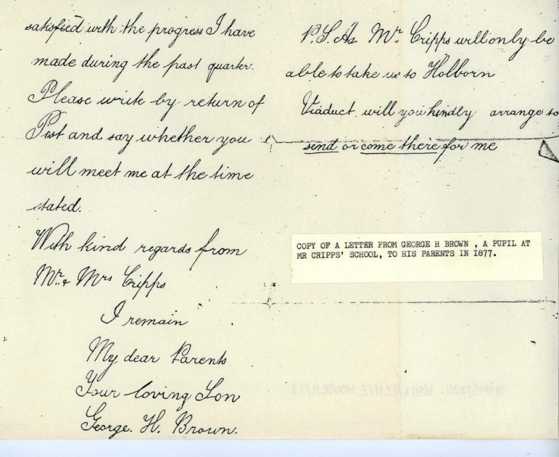 Letter from George H Brown a pupil at Cliffe House School. 27 May 1877