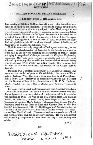 The work of W P D Stebbing: articles in Archaeologia Cantiana 1943 and 1961