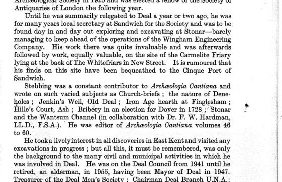 Extracts from 'Archaeological Cantiana' about archaeological discoveries in St Margaret's and the work of W P D Stebbing. 1943