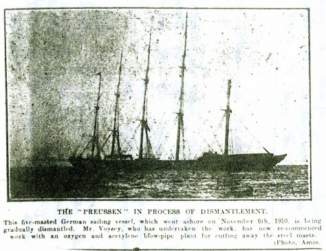Dismantling the wreck of the Preussen. 1912