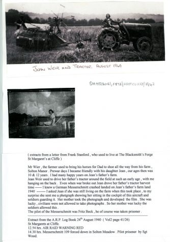 WW2 German aircrash on Solton Manor Farm. 1940