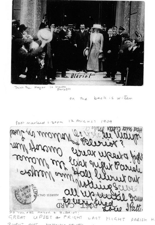Bleriot being received at Dover and mention of village hall fire.1909